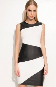 Makadamia M341 sukienka ecru-czarna