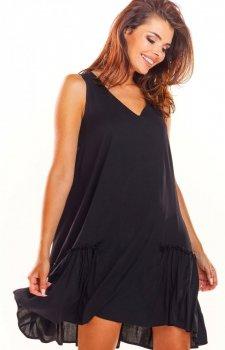 Luźna sukienka z falbaną na dole czarna A285