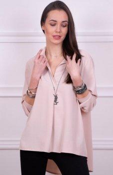 Oversizowa koszula damska beżowa Roco 0051