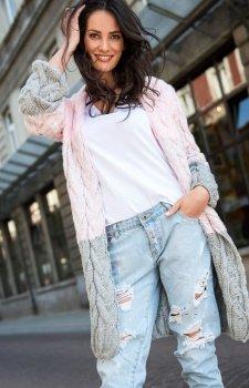Numinou S37 sweter różowo-szary
