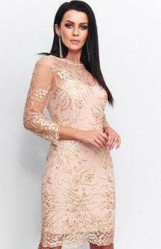 Roco 199 sukienka koronkowa beżowo-złota