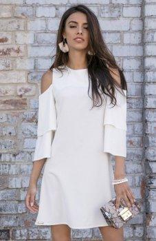 Fobya F543 elegancka sukienka ecru
