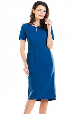 Dopasowana sukienka midi niebieska A252
