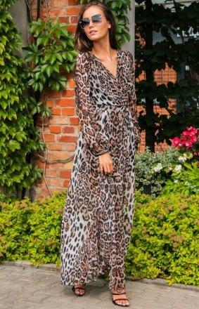 Długa sukienka w panterkę 0219 D40