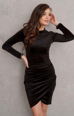 *Elegancka welurowa sukienka czarna 0317