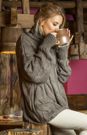 Fobya F616 sweter brązowy