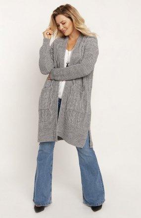 MKM PA008 swetrowy płaszcz szary