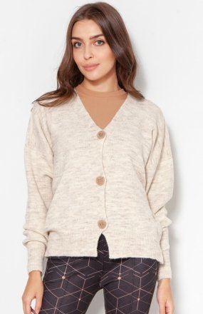 Sweter na duże guziki beż SWE131