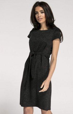 Dzianinowa sukienka z wiązaniem czarna NA1004