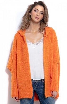 Oversizowy sweter z kapturem pomarańcz F960