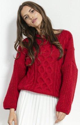 *Czerwony oversizowy sweter Fobya F866