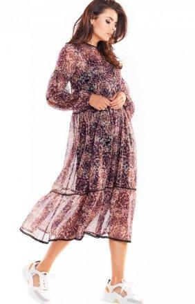 Szyfonowa sukienka midi Awama A316/W2