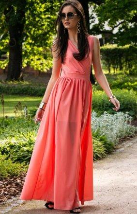 Elegancka szyfonowa sukienka koralowa 0213