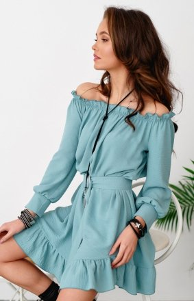 Sukienka w stylu boho miętowa 0285