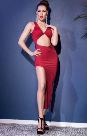 Seksowna dopasowana sukienka red 4445