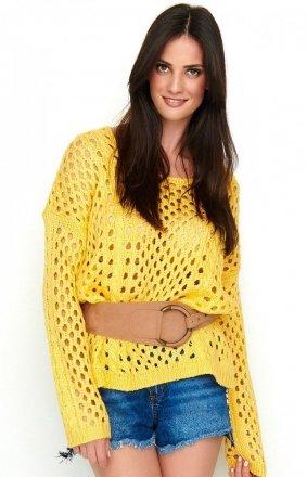 Ażurkowy sweter neonowy morelowy S59