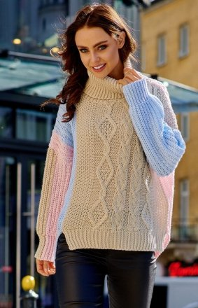 Kolorowy sweter w paski LS233
