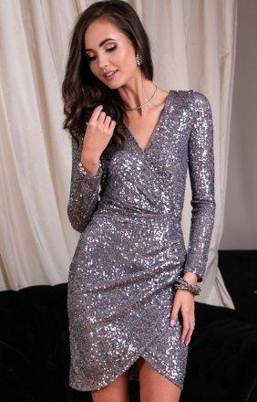 Wieczorowa sukienka cekinowa szara 0265