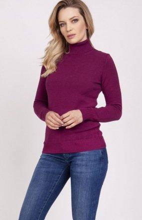 MKM SWE212 sweter z golfem bordowy