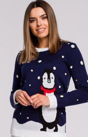 Świąteczny sweter z pingwinem MXS06