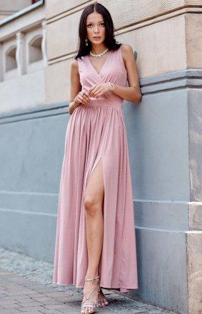 Wieczorowa sukienka maxi różowa 0224