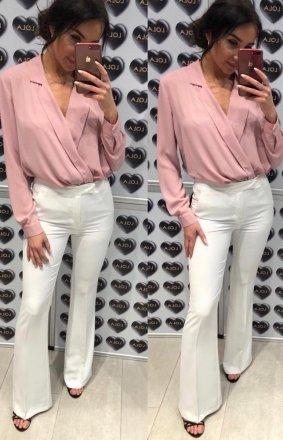 Rozszerzane spodnie typu dzwony białe
