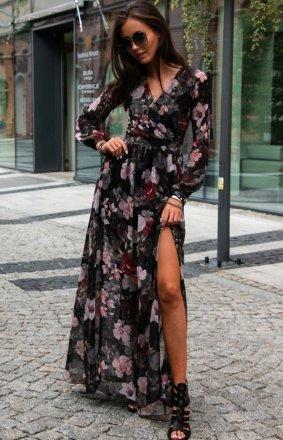Długa sukienka w kwiaty 0219/D51