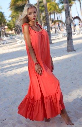 Bawełniana sukienka damska maxi Bali koralowa