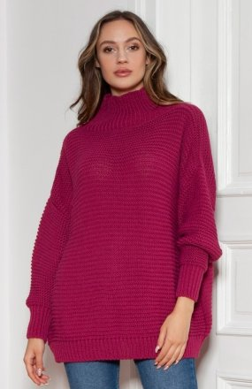Sweter oversize z golfem amarantowy SWE148