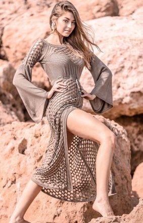 Sukienka plażowa beżowa F732
