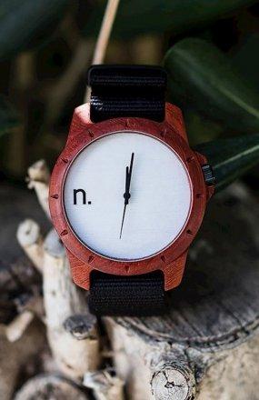Neat Sport padouk zegarek drewniany męski biały
