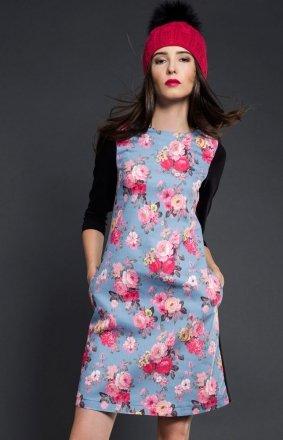 Kasia Miciak design trapezowa sukienka kwiaty