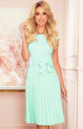 Numoco 311-9 plisowana sukienka midi miętowa