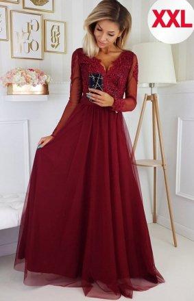 Bicotone 2167/1-10 MAXI sukienka wieczorowa bordowa