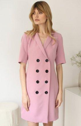 Żakietowa spudrowa sukienka LP259