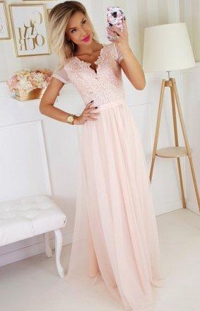 *Wieczorowa długa sukienka brzoskwiniowa 2187-17