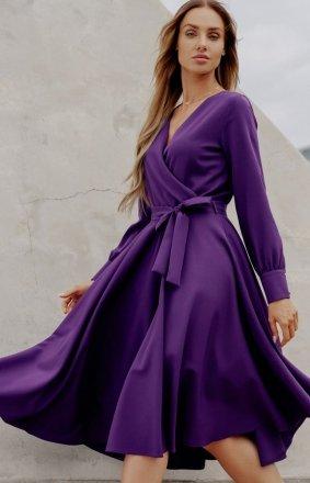 Casualowa sukienka midi fioletowa L392A