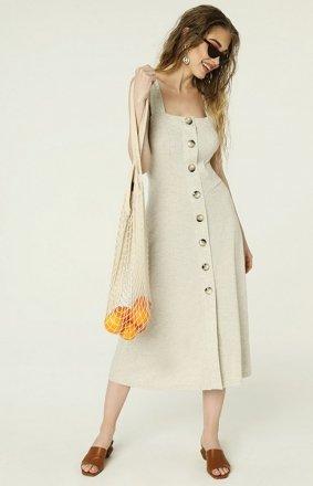 Jasno beżowa sukienka z guzikami na lato Federica