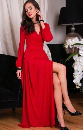 *Roco 0227 długa sukienka wieczorowa czerwona