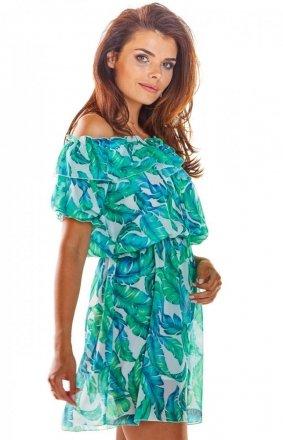 Zwiewna sukienka z dekoltem zielona A302