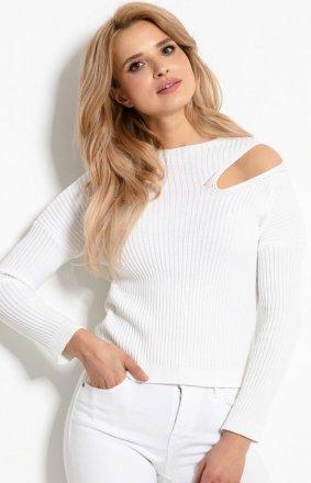 Sweterkowa bluzka z rozcięciem biały F920