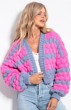 Krótki sweter bomber sweet pink F1057