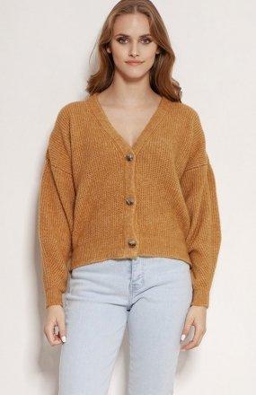 MKM SWE236 rozpinany sweter karmelowy
