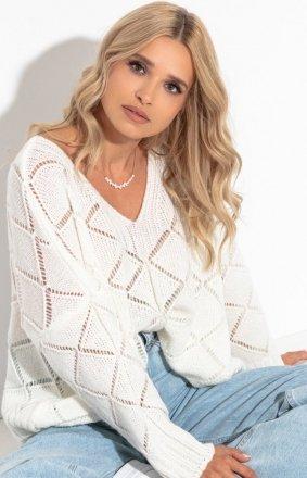 Oversizowy sweter Fobya F1263 ecru