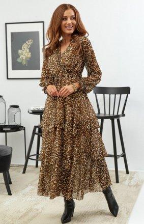 *Elegancka sukienka w panterkę maxi