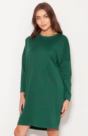 Oversizowa sukienka w typie bluzy zielona SUK191