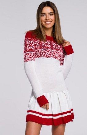 Sweterkowa sukienka święta biała MXS01