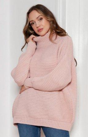 Sweter oversize z golfem różowy SWE148