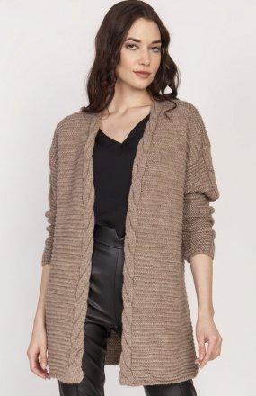 Ciepły sweter kardigan mocca SWE127