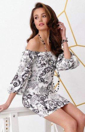 Dopasowana sukienka letnia z hiszpańskim dekoltem 0278/B09
